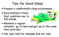 Sample wallet card on tips for good sleep